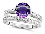 Original Star K Round 7mm Genuine Amethyst Engagement Wedding Ring