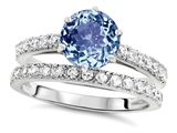 Star K™ Round 7mm Simulated Aquamarine Wedding Ring style: 307692