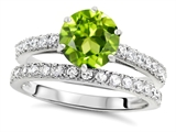 Original Star K Round 7mm Genuine Peridot Engagement Wedding Ring