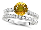 Original Star K Round 7mm Genuine Citrine Engagement Wedding Ring