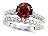 Original Star K™ Round 7mm Genuine Garnet Engagement Wedding Ring