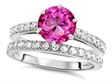 Original Star K Round 7mm Created Pink Sapphire Engagement Wedding Ring