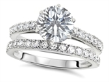 Original Star K™ Round 7mm Genuine White Topaz Engagement Wedding Ring style: 307700