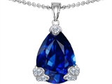Original Star K Large 17x11mm Pear Shape Created Sapphire Designer Pendant