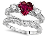 Original Star K Heart Shape 7mm Created Ruby Engagement Wedding Set