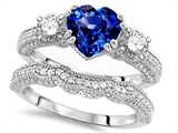 Original Star K™ Heart Shape 7mm Created Sapphire Engagement Wedding Set style: 307710