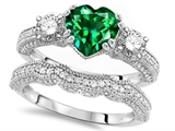 Original Star K Heart Shape 7mm Simulated Emerald Engagement Wedding Set