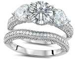 Original Star K Round 7mm Genuine White Topaz Engagement Wedding Set