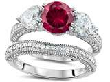 Original Star K™ Round 7mm Created Ruby Wedding Set style: 307714