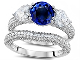 Original Star K™ Round 7mm Created Sapphire Wedding Set style: 307715