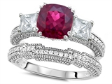 Original Star K™ Cushion Cut 7mm Created Ruby Wedding Set style: 307716