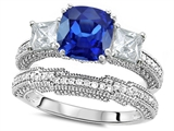 Original Star K™ Cushion Cut 7mm Created Sapphire Wedding Set style: 307717