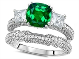 Original Star K Cushion Cut 7mm Simulated Emerald Engagement Wedding Set