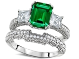 Original Star K Emerald Cut 8x6mm Simulated Emerald Engagement Wedding Set
