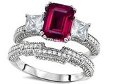 Original Star K™ Emerald Cut 8x6mm Created Ruby Engagement Wedding Set