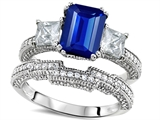 Original Star K Emerald Cut 8x6mm Created Sapphire Engagement Wedding Set