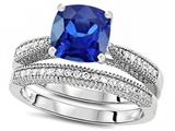 Original Star K Cushion Cut 7mm Created Sapphire Engagement Wedding Set