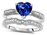 Original Star K Heart Shape 7mm Created Sapphire Engagement Wedding Set