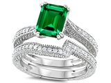 Original Star K™ Emerald Cut 8x6mm Simulated Emerald Engagement Wedding Set