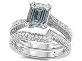 Original Star K™ Emerald Cut 8x6mm Genuine White Topaz Engagement Wedding Set style: 307737
