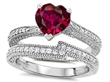 Original Star K™ Heart Shape 7mm Created Ruby Wedding Set style: 307740