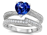Original Star K™ Heart Shape 7mm Created Sapphire Wedding Set style: 307741