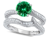 Original Star K™ Round 7mm Simulated Emerald Wedding Set style: 307742