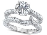 Original Star K™ Round 7mm Genuine White Topaz Engagement Wedding Set style: 307743
