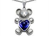 Original Star K Love Bear Holding Birthstone of September 8mm Heart Shape Created Sapphire