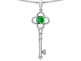 Tommaso Design™ Key to my Heart Clover Key Pendant with Round Simulated Emerald and Genuine Diamond