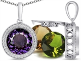 Switch-It Gems Round 10mm Simulated Alexandrite Pendant with 12 Interchangeable Simulated Birthstones