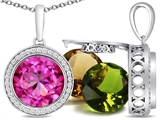 Switch-It Gems™ Round 10mm Simulated Pink Tourmaline Pendant with 12 Interchangeable Simulated Birthstones