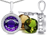 Switch-It Gems Round 10mm Simulated Amethyst Pendant with 12 Interchangeable Simulated Birthstones