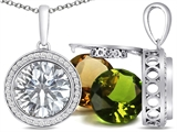 Switch-It Gems Round 10mm Simulated Diamond Pendant with 12 Interchangeable Simulated Birthstones