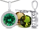 Switch-It Gems Round 10mm Simulated Emerald Pendant with 12 Interchangeable Simulated Birthstones