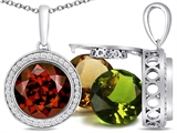 Switch-It Gems Round 10mm Simulated Garnet Pendant with 12 Interchangeable Simulated Birthstones