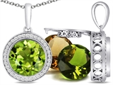 Switch-It Gems Round 10mm Simulated Peridot Pendant with 12 Interchangeable Simulated Birthstones