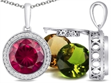 Switch-It Gems Round 10mm Simulated Ruby Pendant with 12 Interchangeable Simulated Birthstones