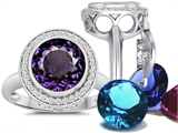 Switch-It Gems Round 10mm Simulated Alexandrite Ring with 12 Interchangeable Simulated Birthstones