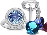 Switch-It Gems Round 10mm Simulated Aquamarine Ring with 12 Interchangeable Simulated Birthstones