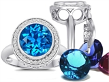 Switch-It Gems Round 10mm Simulated Blue Topaz Ring with 12 Interchangeable Simulated Birthstones