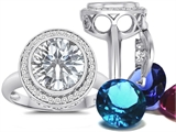 Switch-It Gems Round 10mm Simulated Diamond Ring with 12 Interchangeable Simulated Birthstones