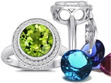 Switch-It Gems Round 10mm Simulated Peridot Ring with 12 Interchangeable Simulated Birthstones