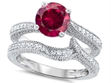Original Star K Round 7mm Created Ruby Engagement Wedding Set