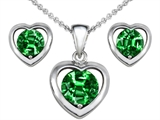 Original Star K Round Simulated Emerald Heart Earrings with Free Box Set matching Pendant
