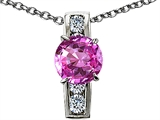 Original Star K Round 7mm Created Pink Sapphire Pendant