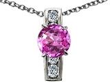Original Star K™ Round 7mm Created Pink Sapphire Pendant style: 307789