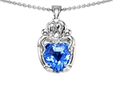 Original Star K™ Loving Mother Twins Family Pendant With 8mm Heart Shape Genuine Blue Topaz