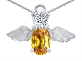 Original Star K™ Angel Of Love Protection Pendant With Oval 8x6mm Simulated Citrine style: 307792