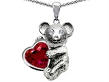 Original Star K Love Bear Hugging Birthstone of July 8mm Heart Shape Created Ruby